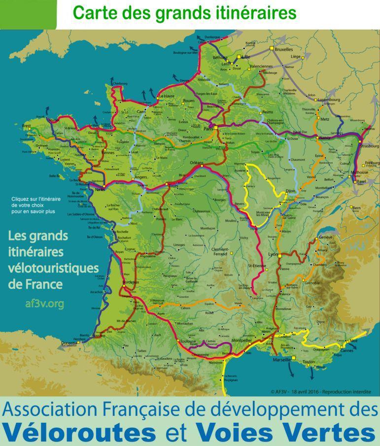 Carte grands itinéraires velo